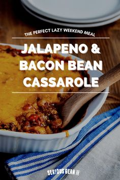 When you need something simple and delicious, reach for this new take on a family casserole. Savory jalapeño and bacon beans, melty cheese, and sweet BBQ sauce will be the perfect dish for your family tonight. Serve with some corn chips for added crunch! Baked Beans With Bacon, Stuffed Jalapenos With Bacon, Stuffed Peppers, Bean Casserole, Casserole Dishes, Corn Chips, Ground Beef, Bbq, Cheese