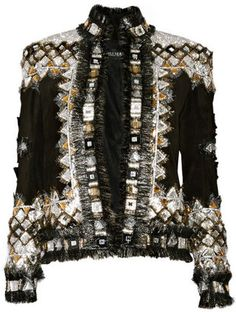 ShopStyle: Balmain Embellished suede jacket