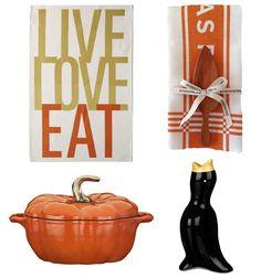 Thanksgiving, live love eat tea towel, pie tea towel, black bird pie weight, pumpkin casserole dish