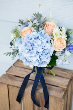 peach and blue bouquet