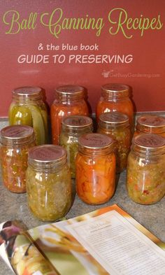 The Blue Book Guide To Preserving is full of Ball canning recipes. An excellent book whether you're a beginner or someone who has been canning for years! Ball Canning Recipe, Salsa Canning Recipes, Canning Salsa, Ball Canning Jars, Mason Jars, Ball Jars, Canning Pressure Cooker, Pressure Canning Recipes, Canning Tips