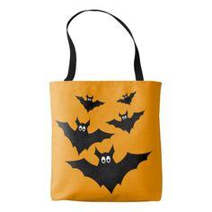 Cool cute Flying bats #Halloween Orange All Over Print Tote Bag by #PLdesign #bats #HalloweenGift