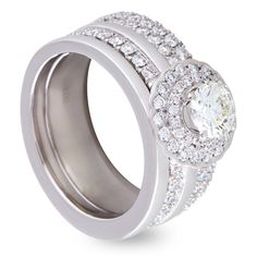 Stunning Platinum Round Brilliant Diamond Extra Wide Engagement Ring with additional plain & diamond Wedding Bands.
