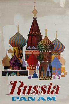 Russia Pan Am.    Plakat amerykańskich linii lotniczych Pan American World Airways, które działały w latach 1927-1991 dotyczący lotów do Moskwy.