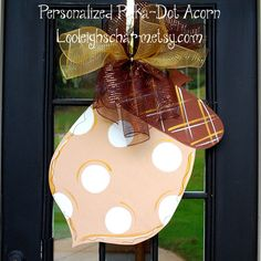 Fall Door Hanger, Acorn Door Decoration, Fall Home Decor, Fall Wreath Fall Door Hangers, Burlap Door Hangers, Fall Crafts, Holiday Crafts, Holiday Fun, Orange Door, Hanger Crafts, Fun Fall Activities, Burlap Crafts