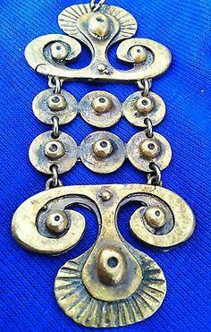 Modernist Bronze Pendant with Chain by Designer Seppo Tamminen, Finland 1960's