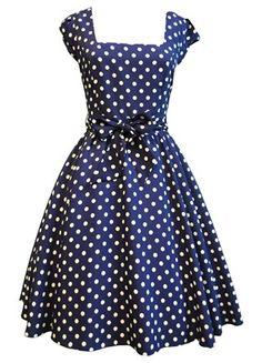Navy & White Polka Dot Swing Dress  I love blue with white polka dot anything!