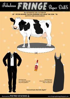 Fringe Paper Dolls 3 - Walter, Polivia & Gene the Cow