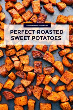 These roasted sweet potatoes have a delicious seasoning blend and are cooked at the perfect temperature to ensure a crispy caramelized exterior and a soft irresistible interior. The seasoning blend adds a perfect accent to these potatoes without ma Oven Roasted Sweet Potatoes, Cooking Sweet Potatoes, Baked Sweet Potato Oven, Simple Sweet Potato Recipes, Sweat Potato Recipes, Thanksgiving Sweet Potato Recipes, Roasted Sweet Potato Cubes, Sweet Potato Seasoning, Recipes
