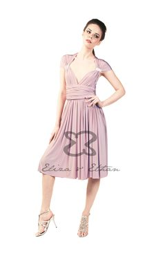 Eliza and Ethan - Multiway - Infinity - Bridesmaids Dresses - OneSize - Short MultiWrap Dress Color: Dusty Rose