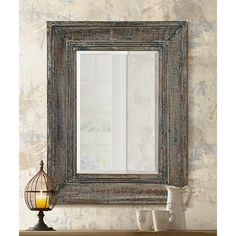 "Uttermost Missoula 35"" High Distressed Wood Wall Mirror"