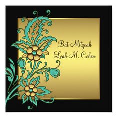 Shop Teal Gold Flowers Black Gold Bat Mitzvah Invitation created by InvitationCentral. Teal And Gold, Black Gold, Bat Mitzvah Invitations, Invitation Paper, Gold Flowers, White Envelopes, Paper Texture, Color Schemes, Event Ideas