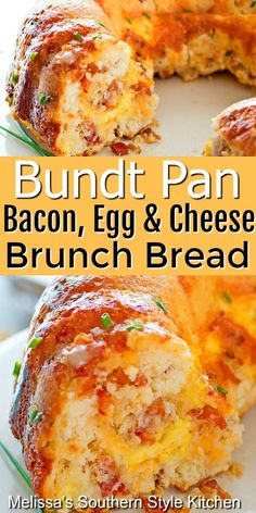Make this delicious brunch bread in a bundt pan! # breakfast Bundt Pan Bacon Egg and Cheese Brunch Bread Breakfast Items, Breakfast Dishes, Bacon Breakfast, Bread Breakfast Casserole, Office Breakfast Ideas, Bacon Egg And Cheese Casserole, Bacon Bread Recipe, Breakfast Ideas With Eggs, Breakfast Bundt Cake
