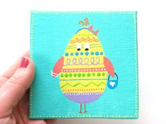 Easter Egg Chick - Pastel Painting - Girly Egg Chick - 4x4 Canvas
