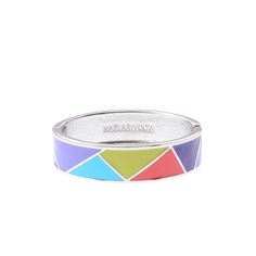 Este brazalete rígido posee un dibujo de triángulos esmaltados en seis combinaciones de colores diferentes. Además cuenta con un sistema...