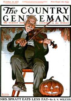 Norman Rockwell - Man Playing Violin, 1921 - appeared on the cover of The Country Gentleman published October 1921 Norman Rockwell Prints, Norman Rockwell Paintings, Caricatures, Peintures Norman Rockwell, Helloween Party, Saturday Evening Post, Pin Up, Arte Pop, Vintage Magazines