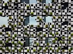 Green Cast // Odawara-shi, Kanagawa Pref., Japan // 2011. 08 // The façade of the building is covered with planters made of aluminum die-cast panels, which provides space for facilities. The 3 (up to 6) aluminum panels, which also form planters, are made in monoblock casting. Each panel is slanted, and its surface appears to be organic, of which cast comes from decayed styrene foam.