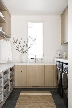 PC Contemporary Project: Office Mudroom & Laundry Room Mudroom Laundry Room, Laundry Room Design, Laundry Area, Grey Slate Tile, Floating Vanity, Slate Flooring, Studio Mcgee, Room Essentials, Room Accessories