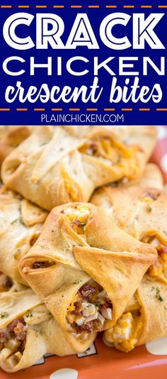 Crack Chicken Crescent Bites - FOOTBALL FRIDAY Crack Chicken Crescent Bites – chicken, bacon, cheddar and ranch baked in crescent rolls. Chicken Appetizers, Appetizers For Party, Appetizer Recipes, Party Snacks, Bacon Appetizers, Party Treats, Chicken Bites, Crack Chicken, Chicken Bacon