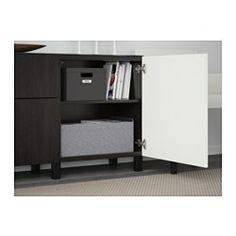 BESTÅ Storage combination w doors/drawers, Djupviken white, Lappviken black-brown - Djupviken white/Lappviken black-brown - 180x40x74 cm - drawer runner, push-open - IKEA