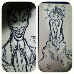 Bored doodles on the back of my business cards :V (( #ztdraws #sketch #thejoker #fanart #dccomics #traditionalart #instadraw #drawing #originalart #instaart ))