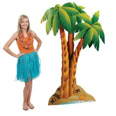 """Decorations: Palm Tree Stand-Up - $42.00  2.6 of 5 rating  ?? OrientalTrading.comCardboard. 43"""" x 5 ft. 10"""" Simple assembly required. Stand-ups are one-sided with a brown cardboard back. © OTC"""