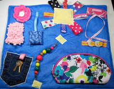 Blues and Pinks Fidget, Sensory, Activity Quilt Blanket by TotallySewn on Etsy