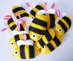 Felt bees sewed theese on a fleece throw with a peek a boo bear on it