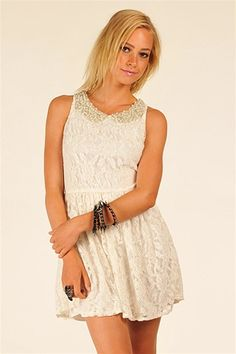 Lace Dress with Pearl Collar