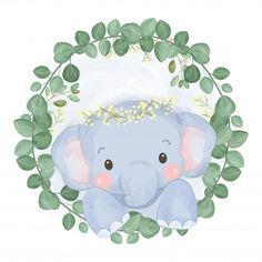 Adorable elephant and greenery Premium V. Woodland Illustration, Elephant Illustration, Cute Illustration, Baby Clip Art, Baby Art, Cute Baby Elephant, Watercolor Animals, Watercolor Flowers, Baby Elephants