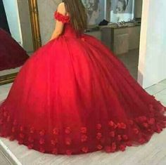 Beautiful Wedding Dresses Off-the-shoulder Ball Gown Hand-Made Flower Red Bridal Gown Quince Dresses, Ball Dresses, Ball Gowns, Prom Dresses, Dress Prom, Junior Formal Dresses, Cheap Quinceanera Dresses, Rehearsal Dinner Dresses, Photo Grid