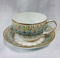 Blue's Teacup with Saucer Thai Benjarong by SweetyCreative on Etsy, $80.00