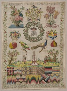 German Sampler ~ first half of 18th century ~  probably Nuremberg, Germany ~ Linen plain weave embroidered with silk and metallic yarn. White linen worked with colored silks. In the middle is a wreath surrounding a crown and a monogram. Around this are flowers in vases and in baskets, and dishes of fruit, a parrot, a peacock, an apple, a pear, a landscape with two shepherdesses and sheep, and a fountain. Museum of Fine Arts, Boston