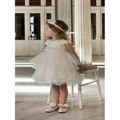 Bαπτιστικό φόρεμα Dolce Bambini από δαντέλα εκρού με παγιέτες, Οικονομικά βαπτιστικά ρούχα για κορίτσι επώνυμα, Dolce Bambini βαπτιστικά φορέματα τιμές-προσφορά, Φόρεμα βάπτισης νέες παραλαβές eshop