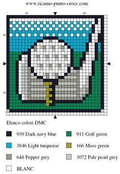golf ball needlepoint | Golf - cross stitch - Blog : http://broderiemimie44.canalblog.com/