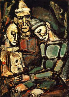 Tres payasos (1920)  Descripción: Óleo sobre lienzo. 105 x 75 cm. Localización: Colección particular Autor: Georges Rouault