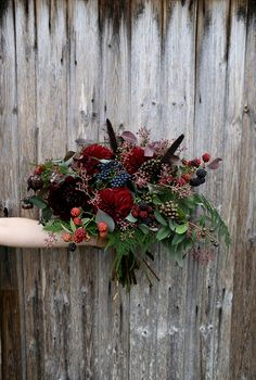 Dramatic and unusual bridal bouquet of mixed florals by verv.- Dramatic and unusual bridal bouquet of mixed florals by vervain flowers iuk - Floral Wedding, Fall Wedding, Wedding Colors, Wedding Bouquets, Rustic Wedding, Wedding Ideas, Berry Wedding, Trendy Wedding, Wedding Decorations