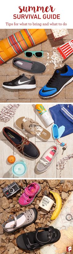 With the kids out of school, summer is vacation time for families. Whether you're going on a long trip or just getting away for the day, it's important to pack the things you need for the activities ahead. Here are some helpful tips for what to bring and what to do—and since we are who we are, of course we included some shoes!