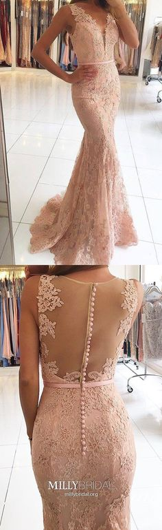 Long Prom Dresses For Teens,Pink Prom Dresses Lace,V-neck Prom Dresses Mermaid,Elegant Prom Dresses with Beading