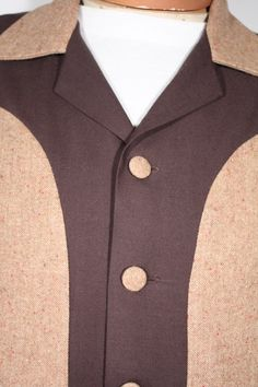 Size XS+ Light Brown Flecked with Dark Brown Gabardine Jacket. See more or buy it at: http://www.reprovintageclothing.com/clothing/clothing_men/cm0318.html
