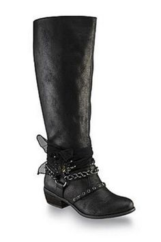 Our Living On The Edge Boots in Black are sure to add a little sparkle into your life! They have a round toe vegan leather exterior with a lightly cushioned interior and foot bed. They feature rhinestones, link and studded straps with an mesh bow.