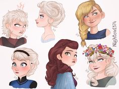 nightowl374: Worked on some Elsa AU hairdos  also an Astrid one  . Most of these are just some styles from a few of the stories I've had in mind for a while  . Some of you may remember the snippet of the brown-haired Elsa from before. ✨she's apart of a certain fanfic I'm desperately trying to work on. . . I also included the short hack job Elsa received from Tuffnut while she was sleeping . Any favorites? . . Enjoy! And leave your thoughts if you'd like!