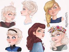 Elsa AU hairdos (Including an Astrid one)