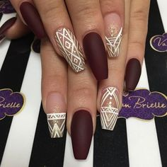 Geometric Nail Art Design Ideas Trends 2018 - Most Trending Nail Art Designs in 2018 Hot Nails, Hair And Nails, Wine Nails, Gorgeous Nails, Pretty Nails, Nail Art Designs, Nails Kylie Jenner, Red Matte Nails, Geometric Nail Art