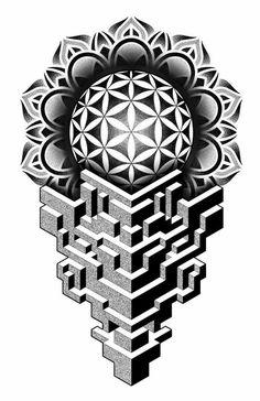 Geometric Tattoo Stencil, Geometric Tattoo Design, Mandala Tattoo Design, Mandala Tattoo Men, Tattoo Stencils, Geometric Patterns, Geometric Shapes Art, Abstract Geometric Art, Geometric Drawing