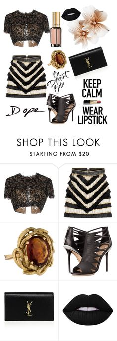 """""""#InForParty"""" by juromi ❤ liked on Polyvore featuring Emilio Pucci, Balmain, L'Oréal Paris, L.A.M.B., Yves Saint Laurent and Lime Crime"""