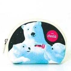 Coca-Cola Polar Bear Coin Pouch/Makeup Bag - Beige Coca-Cola. $11.99. 4.75X1.25X4. This Coca-Cola bag can be used as a coin pouch or a makeup bag! It is made out of canvas and has the Coca-Cola polar bears printed on the front. It has a top zip closure and the inside is lined with fabric.