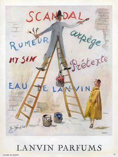 Parfums Lanvin -  1951 - Illustration de  Guillaume Gillet pour Scandal, Arpège, Prétexte, Eau De Lanvin......