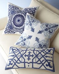 Gorgeous blue embroidered pillows!  Reminds me of suzanis and Santorini :) (Caron White | Ocean Home Oceanfront Properties Coastal Lifestyle)