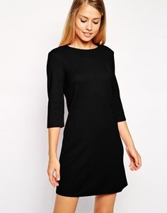 ASOS Shift Dress in Textured Rib with 3/4 Length Sleeves - Black